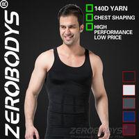 Fast Shipping ZEROBODYS Incredible Mens Body Shaper Firming Panels 140D Vest 107 BK Corset Men Chest Binder Mens Nylon Bodysuits