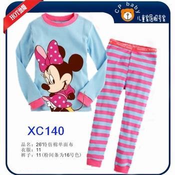 Girls Minnie Mouse Clothing Set Kids Autumn -Summer Pajamas Sets New 2014 Wholesale Children LongSleeve Cartoon Pyjamas XC-140