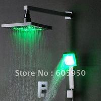 Hot! Free Shipping - Chrome Wall Mounted LED Rainfall Shower Mixer  (IWL-014)