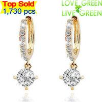 2014 Top sales bridal 18K gold plated Zircon Rhinestones austrian Crystal Circle Drop wholesales fashion earrings jewelry 2901