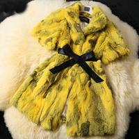colorful Lady Genuine Natural Sliced Rabbit Fur Coat Jacket Short Sleeve Mandarin Collor Winter Women Fur Outerwear Coats 70601