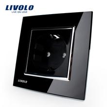 Free Shipping, Livolo EU Power Socket, Black Crystal Glass Panel, 16A  EU Standard Wall Outlet without Plug VL-C7C1EU-12(China (Mainland))