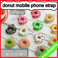 FREE SHIPPING Donut Mobile Phone Strap Squishy Charm Cute Bread Pendant Fashion Cute Promotion Ggift 30pc/lot say hi 1223