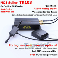 Car GPS tracker TK103 Quadband SD card Crawler GPS Positron Portuguese manual optional Web& Free PC GPS Monitor system