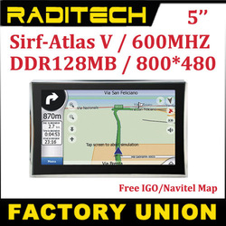 Apical 5 inch Car GPS auto GPS navigator sirf Atlas V 4GB IGO/ Navitel 5.5 maps CPU 600MHZ 128M RAM(Hong Kong)