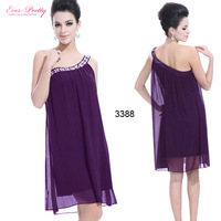 HE03388 Ever Pretty One Shoulder Rhinestones Chiffon Short Women Dresses