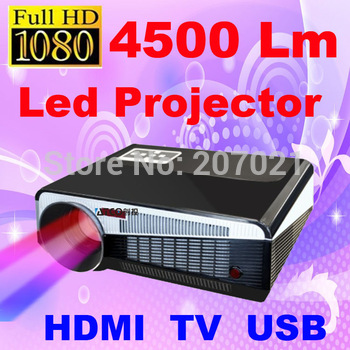 Freeshipping 4500Lumens 1280*800 Multimedia HD Video LED Projector 3D LCD home theater Proyector Beamer with USB HDMI TV Tuner
