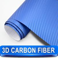 Deep Blue Carbon Fiber Vinyl Wrap 3D Diagonal Pattern With Air Drains Suit For Vehicle Decoration Size: 98x4.9feet