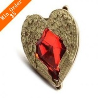 2014 New Fashion Retro Exaggerated Heart Wings Index Finger Angel Heart Retro Opening Ring  66R221