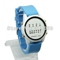 Top Brand Binary LED Watch Cheap Multicolour Blue Lights Women Binary Watch XMAS Gift Wholesale ML0034