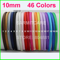 10mm 46 Colors Ribbon Covered Adult & Kids Headbands Satin Headbands Children Headbands Hair Band 200pcs/lot Free Shipping