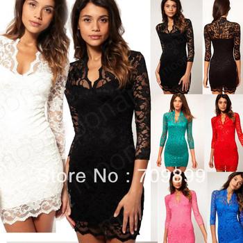 6 Colours Sex Women Ladies V-neck Mini Slim Lace Dress Party Clubwear 3/4 Sleeve WE0325#M1