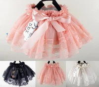 Hot sale baby girls lace tutu skirts fashion kids skirts with bow 4 colors summer autumn skirts for girls wholesale retail 4PCS
