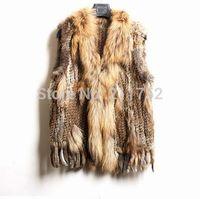 high quality Hot Sale Retail/wholesale Raccoon Dog Fur Collar Women Knitted Natural Rabbit Fur Vest Gilet/waistcoat