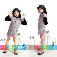 cotton dot bow girls Winter dress kids short sleeve design girl's dresses match leggings Baby clothes for children K0335