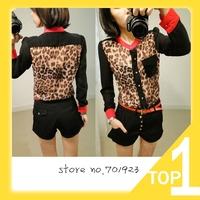 M L XL  Hot Sale 2014 New Fashion Women Chiffon Top Blouse Long Sleeve pocket Leopard patchwork shirt Y3817