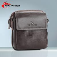 Hot Sale 2013 Fashion Vintage Casual Plaid Cover Genuine Leather Men Shoulder Bag Small Messenger Bags Brown NO34