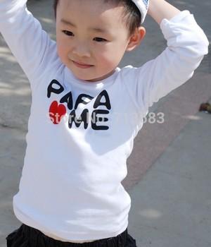 New boy's /girls fall long sleeve T-shirts fit 2-5Y childrens t-shirt MAMA / PAPA  love ME 100% knitting cotton (8 pcs/lot