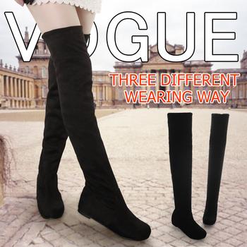 Новое поступление 2013 женская одежда плоское дно сапоги для женщин осень зима над коленных высокой ног замшевыми сапогами на низком каблуке марки