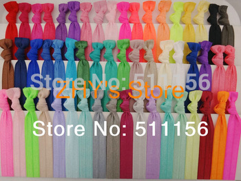 Assorted 54colors 100pcs/lot Fold Over Elastic Hair Ties bracelet wristbands for girl ponytail holder Hair Accessories
