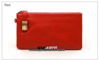 Women leather clutch,girl's locker leather purse,many colors, bronze zipper and buckle,designer clutch handbag,[Fashion Depot]