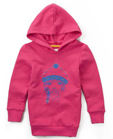 Freeshipping Spring Autumn red gray Children girl Kids baby cute Print hoody hooded cotton sweater outwear coat top PEQZ09P18