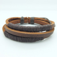 17%OFF Free Shipping, Multilayer Weave Genuine Leather Wrap Bracelet Jewelry Wholesale Adjustable Size Bracelets For Men