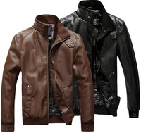 New Thicken Style for Winter 2013 fashion stand collar motorcycle leather clothing men's leather jacket male outerwear MJ044