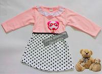 2014 Autumn baby girls dress fashion children's dress lovely Cartoon dress cute baby dress for 2 - 7 years D001Free Shipping