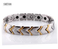 wholesale Fashion 2014 new Magnetic Gold bracelet for Men Jewelry Germanium Stainless Steel Two Tone charm bracelets bangles