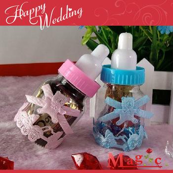 Free shipping 2013 baptism wedding favor gift chocolate baby feeding bottle wedding candy box with bowknot 48pcs/lot