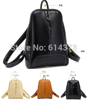 Free Shipping 2013 high quality waterproof material  fashionable casual double sided women's PU leather backpack bags School bag