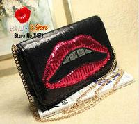 FREE SHIPPING paillette lip clutch handbag with metal shoulder chain cool punk golden kiss clutch leather lip messenger bag
