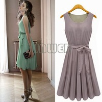 Green Women's Elegance Round Collar Sleeveless Pleated Vest Chiffon Dress free shipping 34