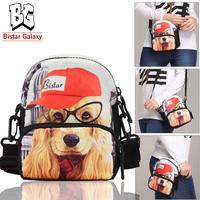 Lovely Dog Printing Cross Body Shoulder Bag Multifunction Sport Bag Waist Bag Animal Printing Free Shipping BBP106W