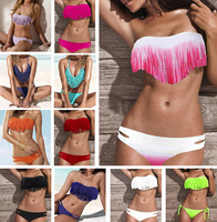 Newest Summer Fashion Sexy Women Bikini Swimwear Padded Boho Fringe Tassels Real Class Swimsuit 21 Colors #P038