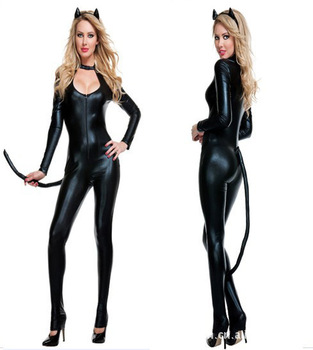 2013 Hot Sale!Women Costume,Sexy Leather Dresses,Tail Role/Tight Spandex Catsuits for Women,New Fashion Latex Catsuit!Lots Cheap