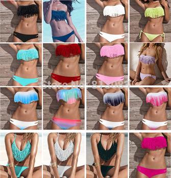 2014 Newest Fashion Sexy Women Bikini Swimsuit Padded Boho Fringe Tassel Swimwear 21 Colors S/M/L #P039