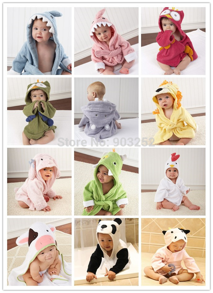 Retail-10 Designs Hooded Animal modeling Baby Bathrobe/Cartoon Baby Towel/Character kids bath robe/infant bath towels(China (Mainland))