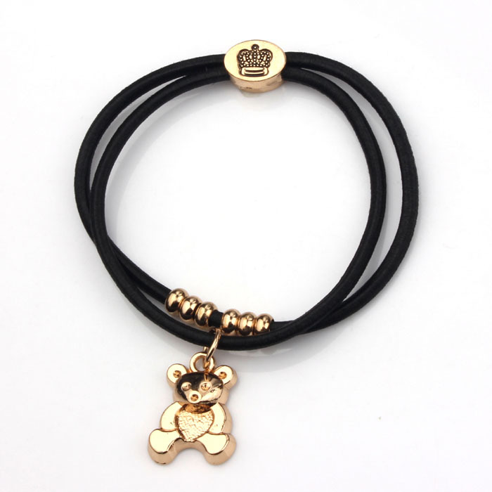 6pcs/lot New Bear Heart Lion Key Zebra Elephant Rose Charms Elastic Rope Bracelets & Hair Rope Fashion Jewelry(China (Mainland))