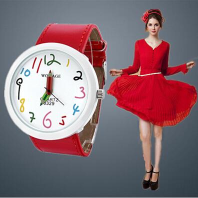 2015 New Hot Women Casual Quartz Watch.Big Dial Leather Pencil Fashion Ladies Cartoon Cute Wristwatches.Relogio Clock Female(China (Mainland))