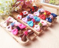 Free Shipping Sweet Mini Cute Baby Girls Hair Clips Kids Ribbon Hairpins Alligator Bow Clip Children Headwear Hair Accessories