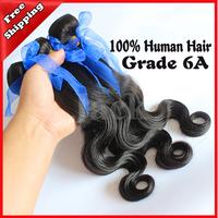 Queen Hair Products Cheap Brazilian Virgin Hair Body Wave 3pcs/lot 100g Grade 6A  Human  Hair weave Natural Color