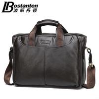 BOSTANTEN business vintage natural cowhide men briefcase messenger bag+  Genuine leather men handbag shoulder bag