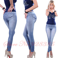 One size Stretchy Jean look Fashion legging for women sexy Leggins Slimming Jeggings Wholesale free shipping #Top1