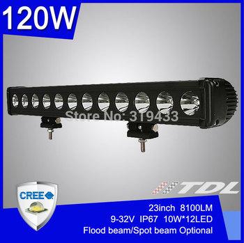 120W 23'' inch Cree LED Light Bar Single Row for SUV Truck Jeep Driving Headlight 12V 24V 8100LM Flood Spot Combo Waterproof