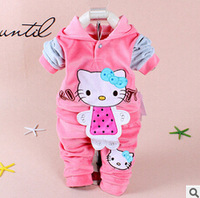 NEW arrived 100% COTTON WT hello kitty 2-piece suts set baby kids on both sides wear baby girl sweater two-piece suit 0-2T