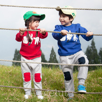 New 2013 Autumn Clothing Set Kids Clothes Sets Sport Suits Patched Design Children Hoodies + Pants Girls Boy Clothing Sets