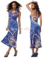 New Fashion  Women Pattern Printed Beach Dress Casual Summer Long MAxi Dress 4196