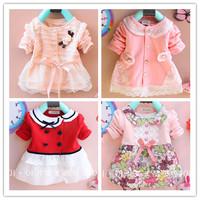Retail Spring Autumn children's thin coat baby girls outerwear,fashion lace collar design full buttons children outerwear